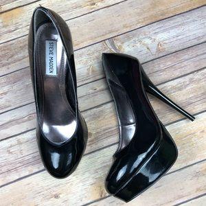 STEVE MADDEN Patent Black Platform Heels Shoes